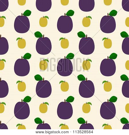 Seamless pattern with blue and yellow plums