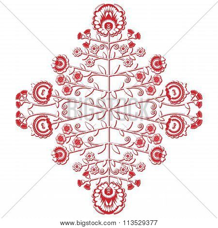 Ethnic and folk inspired floral asymmetric cutout pattern in red and white , with red stroke drawing