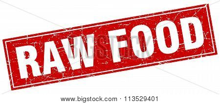Raw Food Red Square Grunge Stamp On White