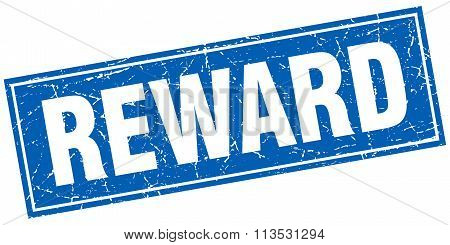 Reward Blue Square Grunge Stamp On White
