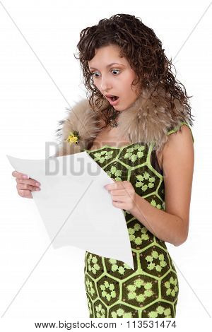 Young Shocked Stunned Funny Looking Woman Reading Newspaper Isolated On White Background. Human Emot