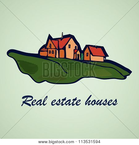House Abstract Real Estate Concept Design. Realty Theme Icon.