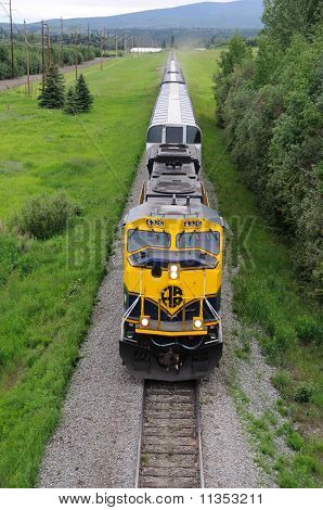 Alaska Railroad Train roles into Fairbanks
