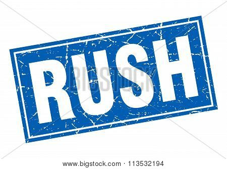 Rush Blue Square Grunge Stamp On White