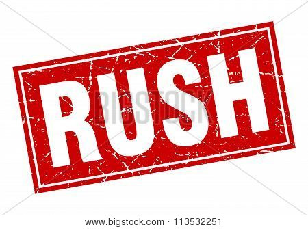 Rush Red Square Grunge Stamp On White