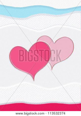 Valentine card, red hearts, of-white background, upright