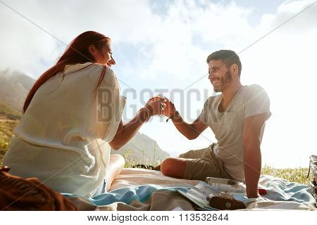 Couple Having A Romantic Day Outdoors