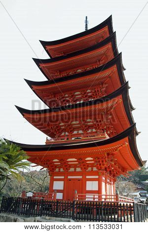 Five story pagoda of Itsukushima Shrine in Miyajima Hiroshima Japan