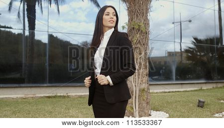 Impatient businesswoman waiting for a client