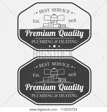 Vintage Logos, Labels And Badges Plumbing & Heating Services. Vector Dark Grey Icon On Light Grey