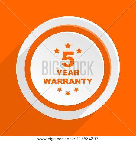 warranty guarantee 5 year orange flat design modern icon for web and mobile app