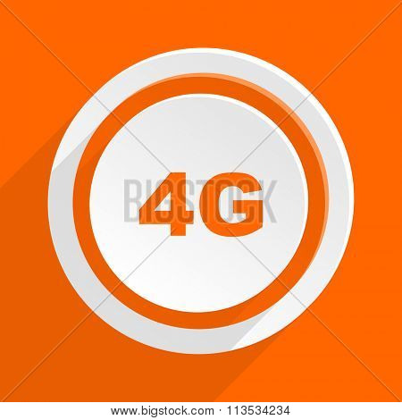 4g orange flat design modern icon for web and mobile app