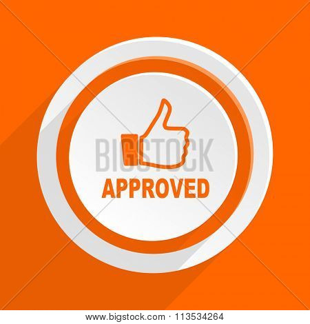 approved orange flat design modern icon for web and mobile app