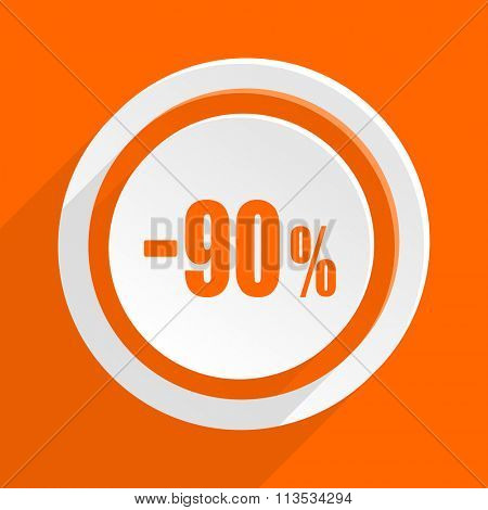 90 percent sale retail orange flat design modern icon for web and mobile app