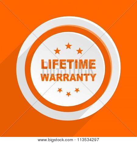 lifetime warranty orange flat design modern icon for web and mobile app