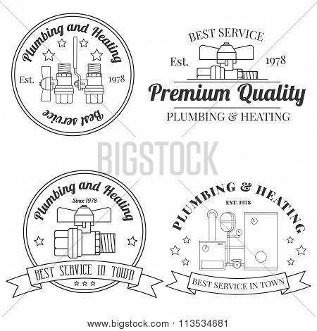Vintage Logos, Plumbing & Heating Services.  Vector Dark Grey Icon On Light Grey B