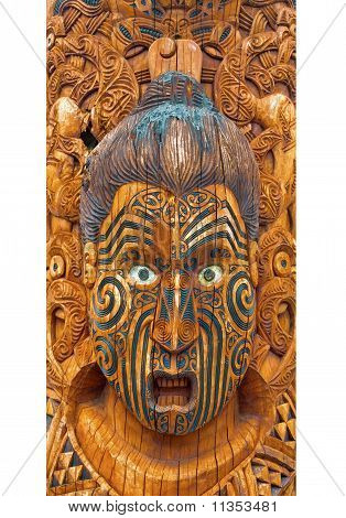 Carved and Tattooed Maori Face displayed in Rotorua