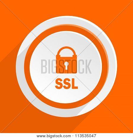 ssl orange flat design modern icon for web and mobile app