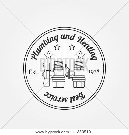 Vintage Logos, Labels And Badges Plumbing & Heating Services.  Vector Dark Grey Icon On Light Grey B