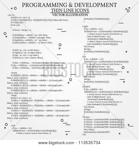 Thin Line Design Of Cloud Computing Technology, Wireless Communication, Website Programming Code, Ho