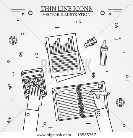 Accounting Thin Line Icon. Vector Illustration.