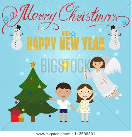 Christmas Poster Design With Angel, Children,snowman, Christmas Tree And Christmas Presents. Christm