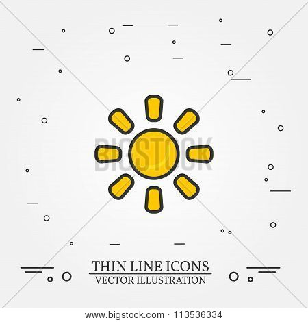 Sun Thin Line Design. Sun Pen Icon.sun Pen Icon.sun Pen Icon Drawing. Sunr Pen Icon Image.