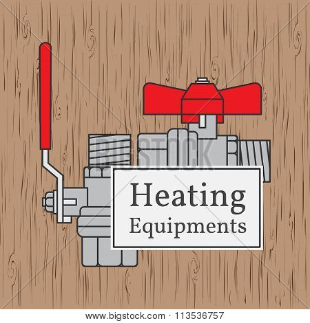 Heating Equipments Badge. Vector. Ball Valve.