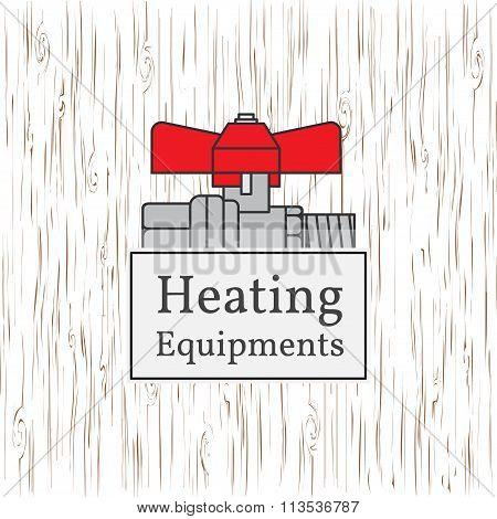 Heating Equipments Badge. Vector. Ball Valve.