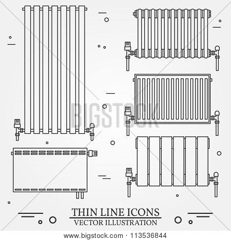 Central Heating Radiators Icons Thin Line For Web And Mobile, Modern Minimalistic Flat Design. Vecto