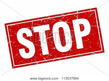 Stop Red Square Grunge Stamp On White