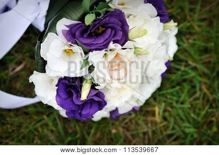 Wedding Purple Bouquet And Rings