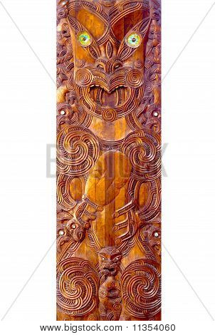 A close up of a Maori Poupou carving