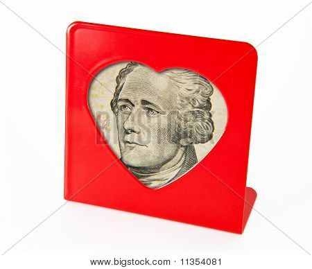 photo frame with the portrait of Alexander Hamilton