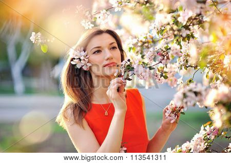 Sensual Portrait Of A Spring Woman, Beautiful Face Female Enjoying Cherry Blossom, Dreamy Girl With