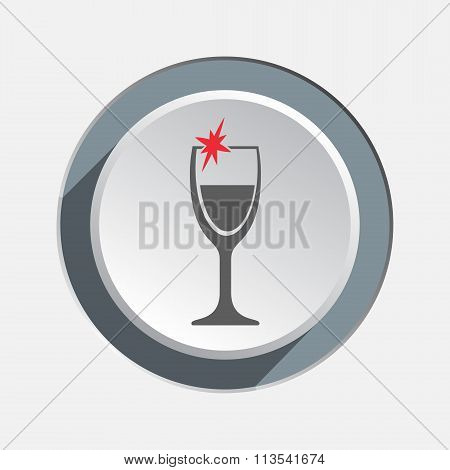Glass of wine icon. Drink, bar, holiday, Christmas symbol. Red sign on round white-gray button. Vect