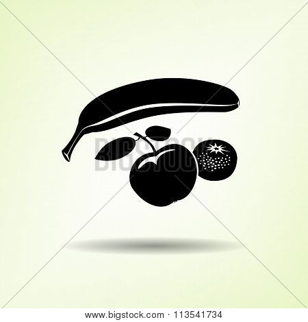 Banana, Mandarin icon. Four fruits. Black silhouette with shadow on light green backdround. Flat des