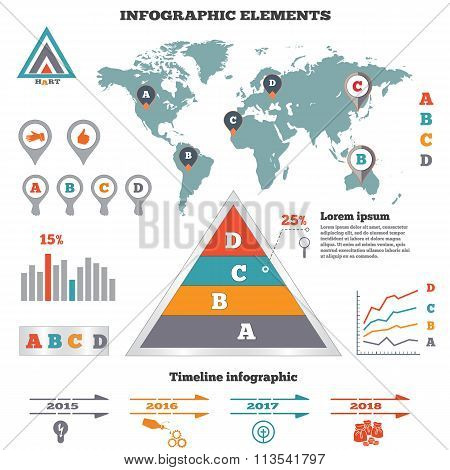 Infographics elements set. Pyramid chart, world map, graphics tags and marks. Timeline diagram, icon