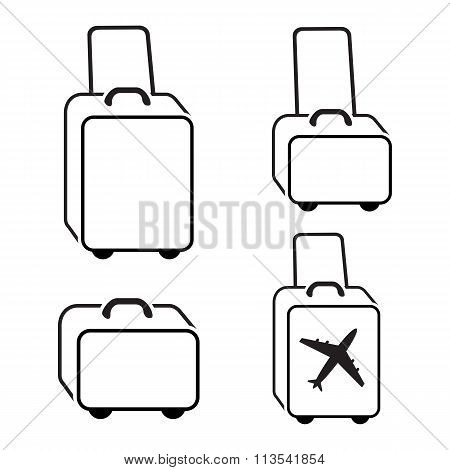 Baggage icon set. Hand luggage for traveling. Linear icons Black symbols on white. Vector isolated