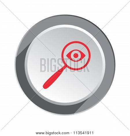 Magnifier, glass, lens and eye icon. Zoom tool, search, navigation symbol. Red sign on round white-g