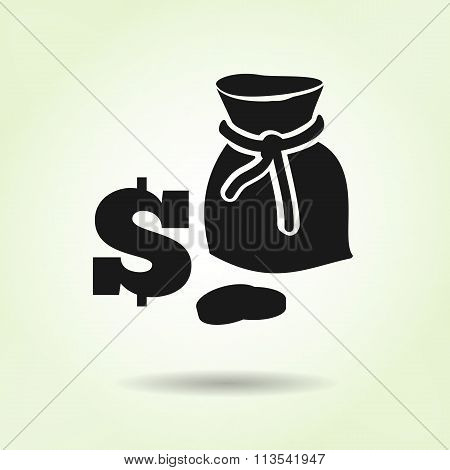 Money icon. Sack of coins. USD dollar currency symbol. Black silhouette on light green background wi