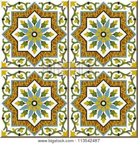 Vintage seamless wall tiles of spiral vine flower star, Moroccan, Portuguese.