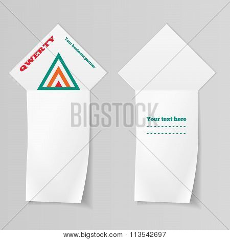 Ribbon, arrow view. Paper vertical banners with triangular logo. Label for your text. Stationery. Ve