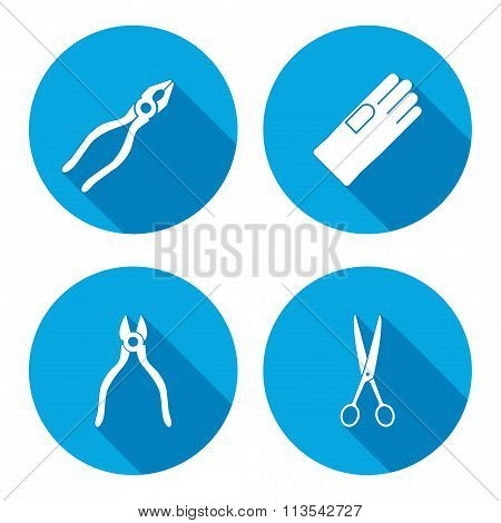 Pliers, scissors, glove, tongs icons set. Repair, fix tool symbol. Round button with long shadow. Ve