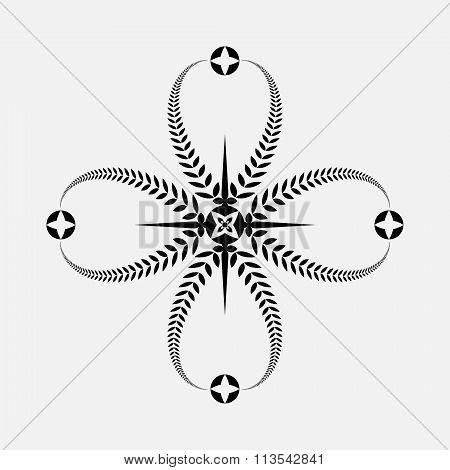 Laurel wreath tattoo icon. Black ornament. Cross sign on white background. Defense, peace, glory sym