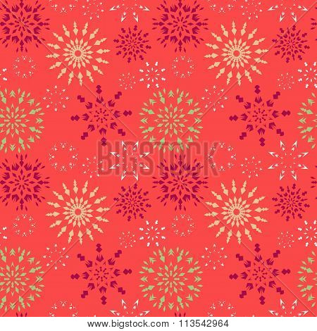 Christmas seamless pattern. Red, green, white snowflakes on magenta background. Winter texture. Frui