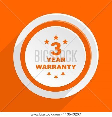 warranty guarantee 3 year orange flat design modern icon for web and mobile app