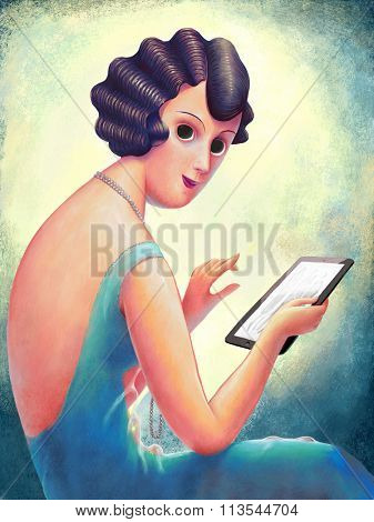 The hand drawn vintage illustration of a young woman reading the fashion magazine on her tablet, 1920s style