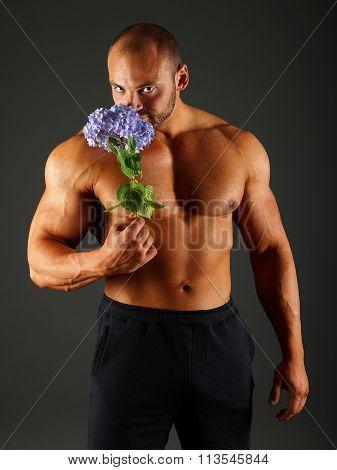 Muscular man with blue hydrangea