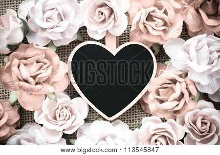 All You Need Is Love Wooden Tag With Roses
